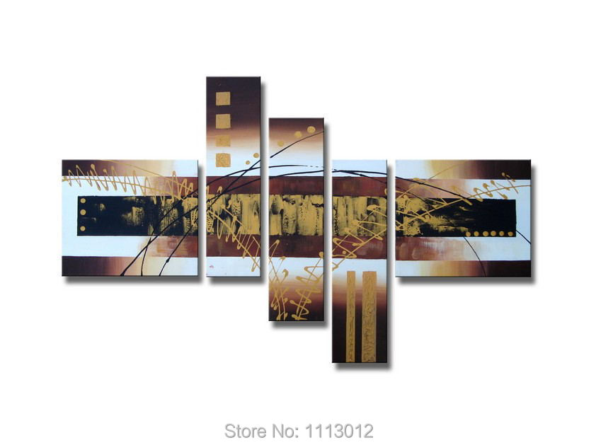Abstract Brown Line Flower Oil Painting On Canvas High Quality 5 Pcs Set Home Modern Wall Art Decoration For Living Room Sale