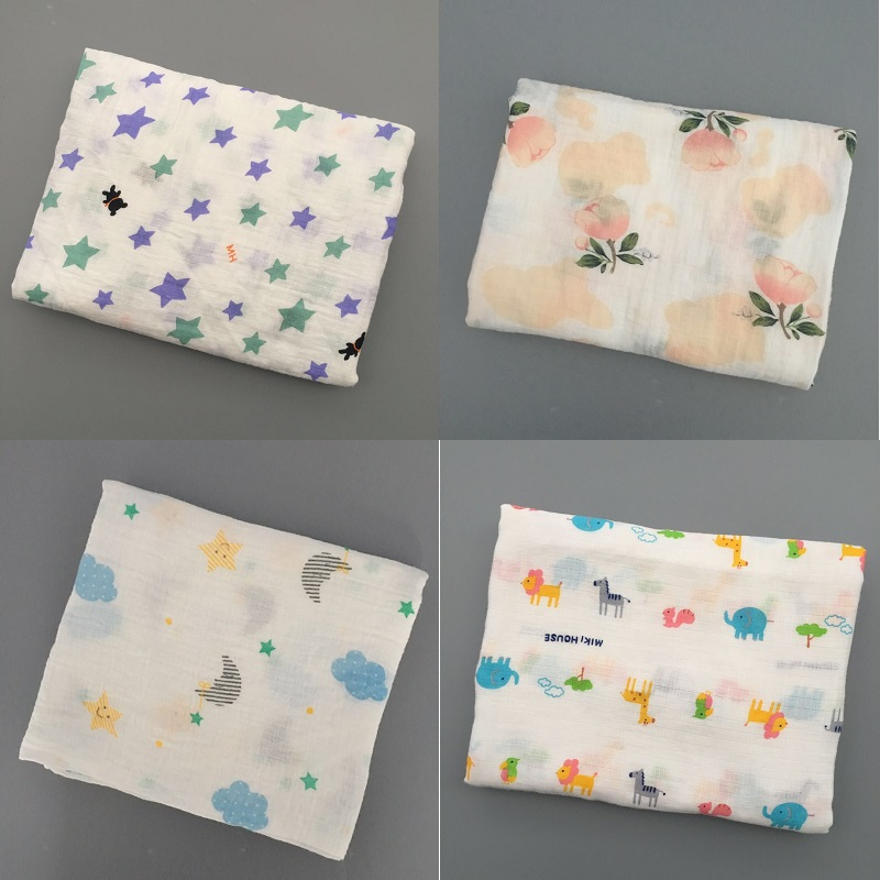 Купить с кэшбэком 4Pcs/Lot Baby Blanket For Summer Animal Pattern Swaddle For Newborns Cotton Fiber Soft Breathable Muslin Baby Bedding Infant