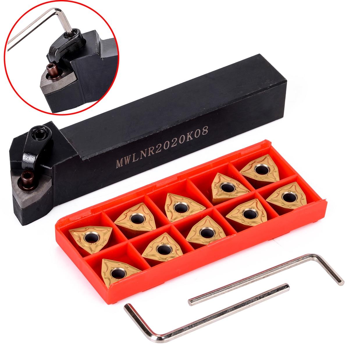 1 Set Practical Lathe Turning Tool 1pc MWLNR2020K08 Holder + 10pcs WNMG080404 Carbide Insert 5pcs set new 3 8 tip carbide indexable turning tool set mayitr good hardness precision insert lathe tool bit