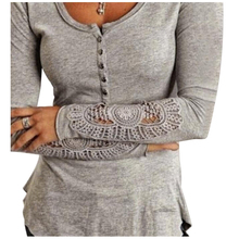 Spring Autumn Women Casual Blouses Shirts Ladies Simple Embroidery O Neck Long Sleeve Lace Splice Tee TopsLight Grey,S/US~4/UK~8