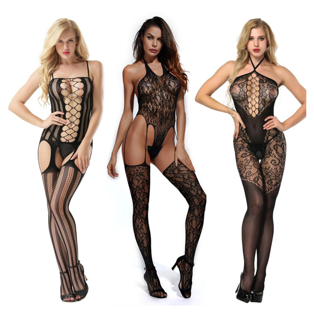 Womens Fishnet Bodystocking Sexy Erotic Lingerie Costumes Teddies Body Suits Crotchless Babydoll Underwear For Sex Tights 017