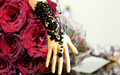 2016 Top Sell  Bridal Gloves Beauty Black Lace Flower Vintage Bracelet Ring Sets Wedding Dress Accessories W/B Bridal Gloves