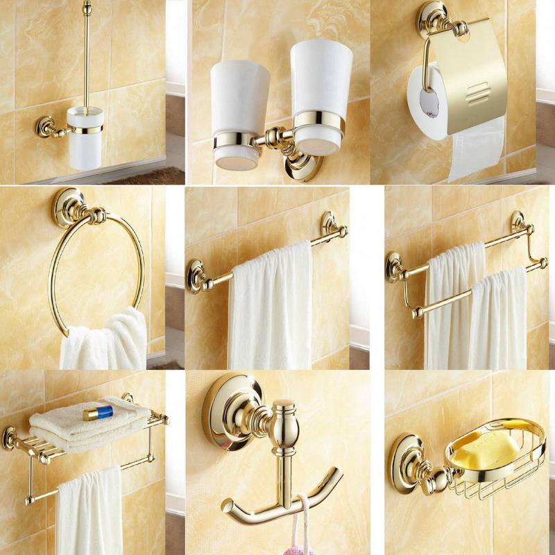 Gold color brass bath hardware wall mounted bathroom - Bathroom accessories paper towel holder ...