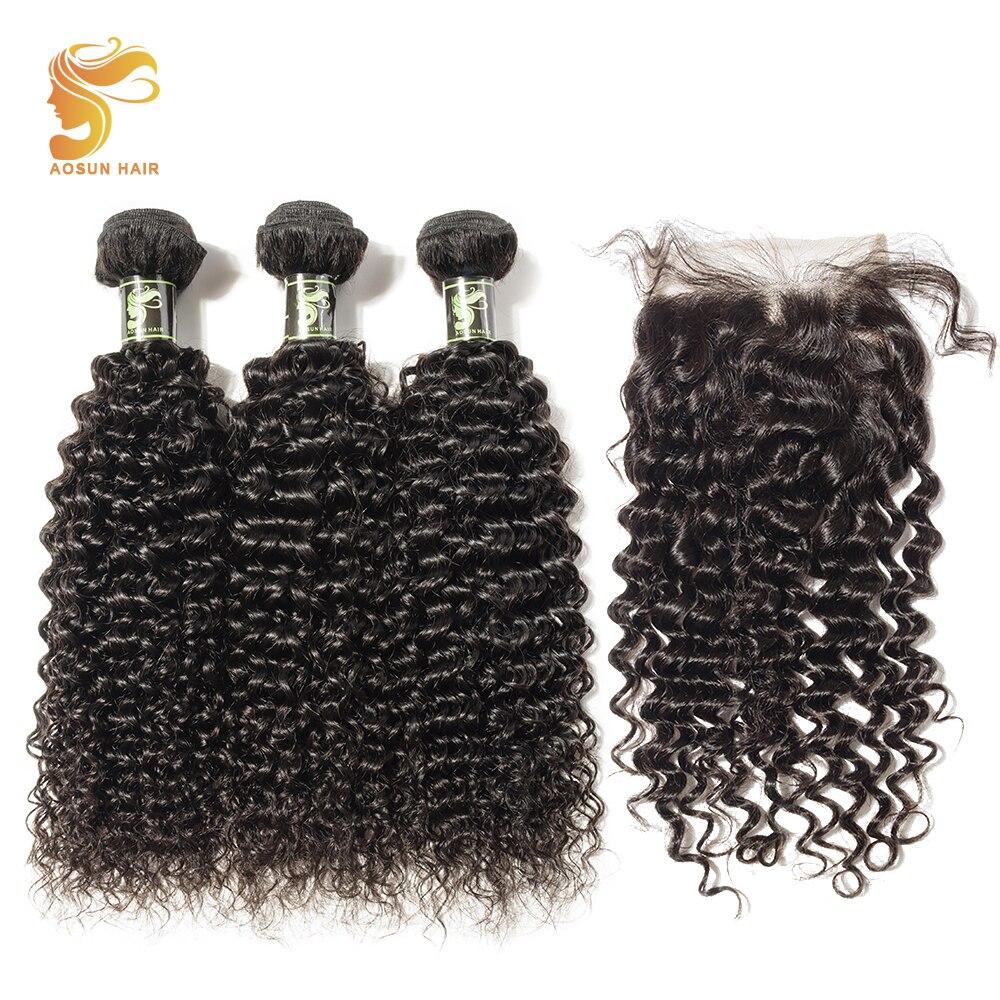 AOSUN HAIR Brazilian Kinky Curly Hair Extension 3 Pcs/lot Brazilian Hair Weave Bundles With 4*4 Lace Closure Remy Human Hair