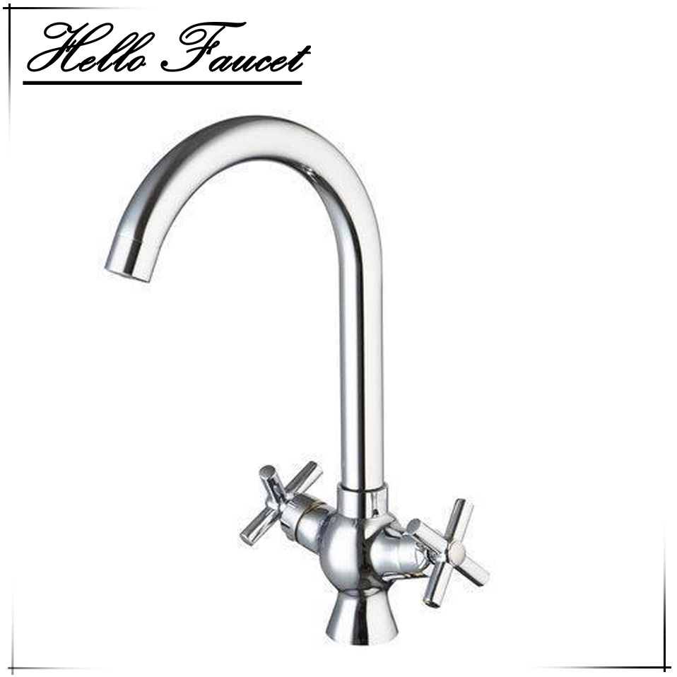 New Arrival Hot Cold Water Tap Stream Deck Mount Double Handles Wash Basin Sink Vessel Kitchen