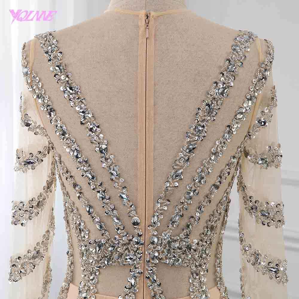 فستان سهرة مثير بكريستال شامبانيا كم طويل فستان رسمي بشق حورية البحر مركز YQLNNE