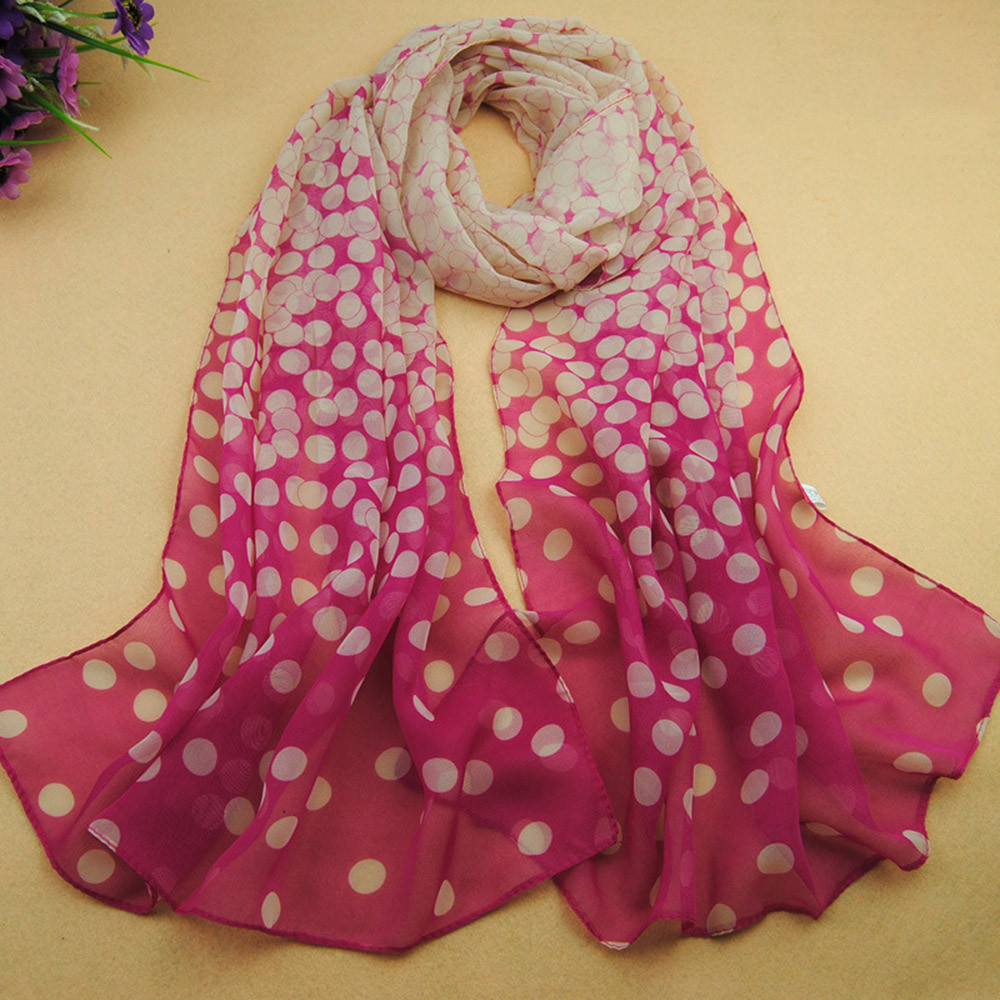 New Stylish Top Grade 160X50cm Spotted Girl Long Soft Silk Chiffon   Scarf     Wrap   Polka Dot Shawl Scarve For Women Girls