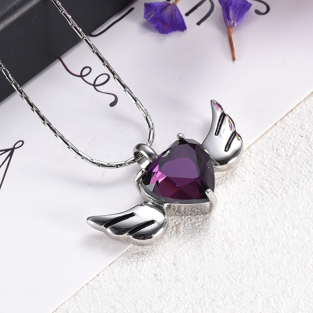 Elegant Angel Wing Heart Women Necklace Keepsake Cremation Jewelry Urn Pendant for Ash Charm Memorial Jewelry Free Shipping