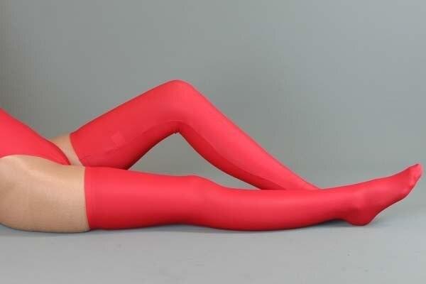 (25 YXLM) Mulher Sexy Red Lycra Coxa Alta Meias terno para Shapers cueca + mercerizado