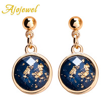 Ajojewel Trendy Japanese Korean Girl Cute Earrings Small Round Crystal Drop Earrings Blue Red Colors Bijoux red gray round colorful embroidery drop earrings