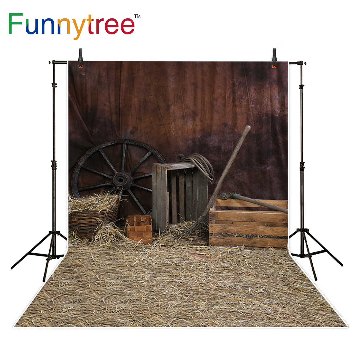 Funnytree photography backdrop western country wood house barn straw background photo studio photobooth photo prop
