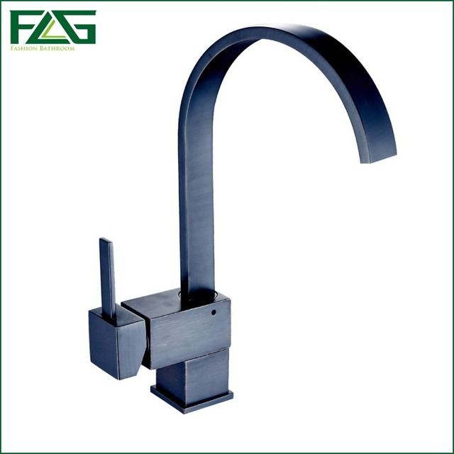 FLG Kitchen Faucet Square Waterfall Oil Rubbed Bronze Kitchen ...
