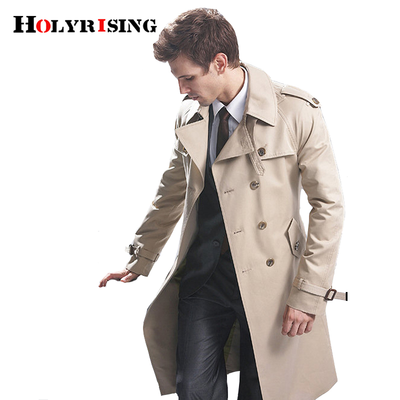 Gabardina para hombre abrigo largo clásico de doble Breasted para hombre ropa de hombre chaquetas largas y abrigos de estilo británico abrigo de S 6XL tallas-in Zanja from Ropa de hombre    2