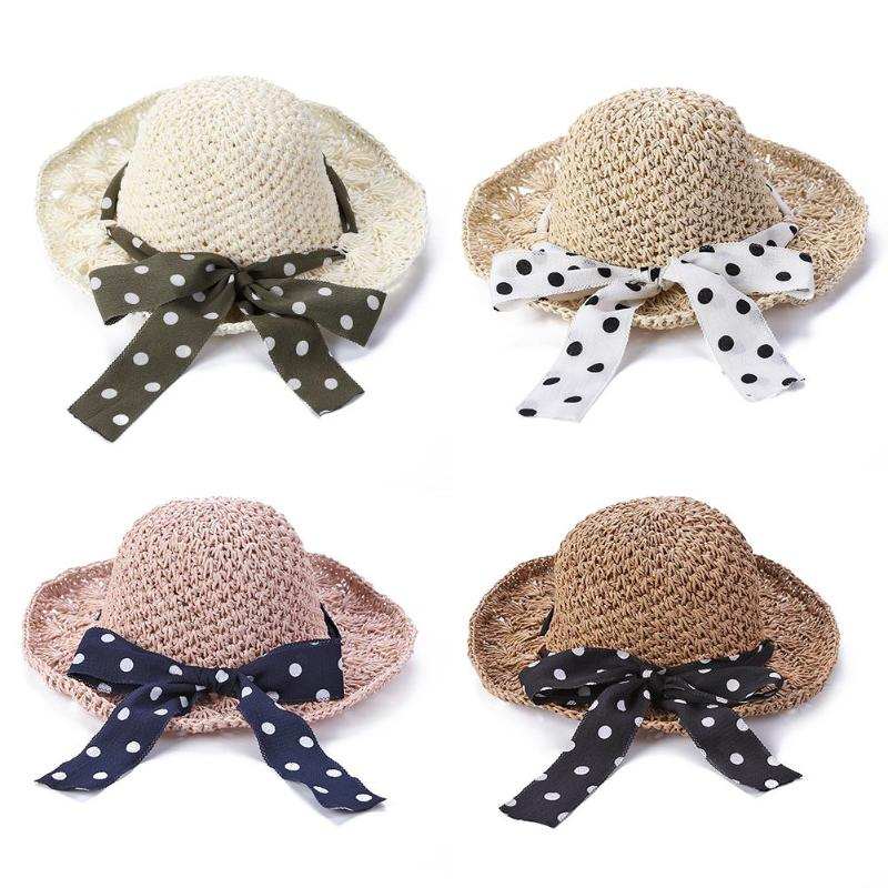 Toddler Straw Sun Hat Summer Cap Baby Princess Bowknot Flower Hats Breathable