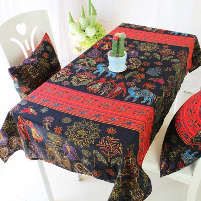 National Style Cloth Printing Tablecloth Dining Table Mat Coffee Tea Table  Tablecloth Bar Restaurant Decoration Home