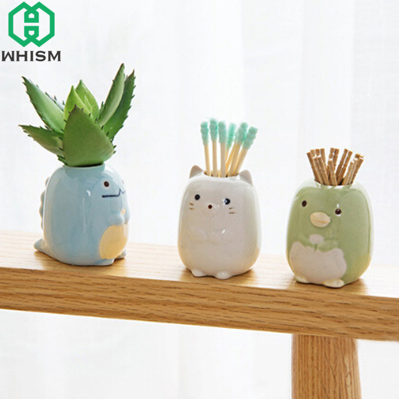 WHISM Mini Ceramic Toothbrush Holder Cartoon Animal Tooth Brush Stand Kids Toothbrushes Storage Rack Bathroom Organizer Shelf image