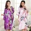 2016 curto manga comprida Floral Sexy Plus Size mulheres Silk Robe Lady meninas pijamas de seda roupão Nightgowns Loungewear Sleepwear