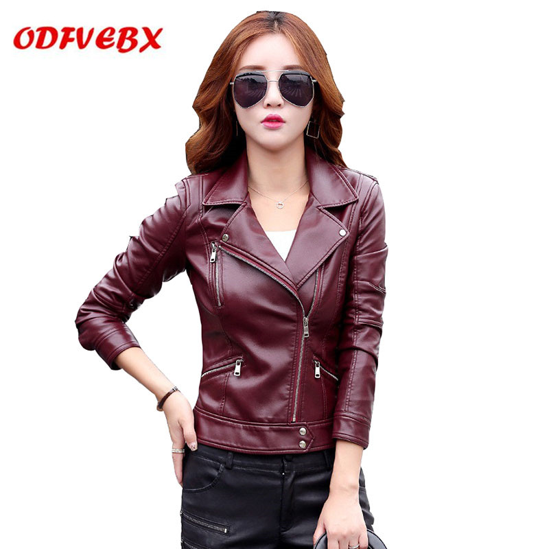 2019 spring autumn new PU   leather   women's fashion slim motorcycle   leather   jacket lapel washed   leather   jackets Female plus size