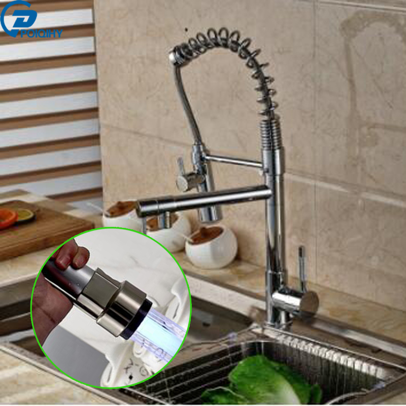 POIQIHY Single Spout Pull Down Sprayer Kitchen Sink Faucet with LED Deck Mounted Lavatory Kitchen Tap