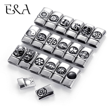 Купить с кэшбэком 316L Stainless Steel Magnetic Clasps Mirror Finish with Blacken Pattern Hole 12*6mm Bracelet Magnet Connector DIY Jewelry Making