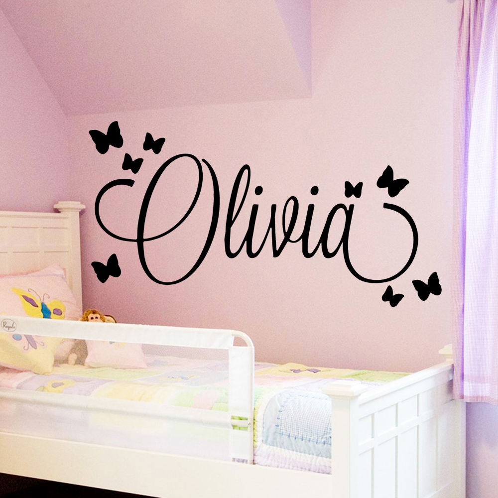 Large Size Personalized Custom Name Wall Art Decal babys Wall Stickers Material For kids girls boys bed room Decoration mural(China)