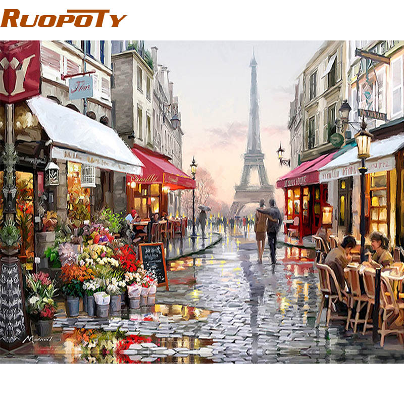 RUOPOTY Paris Street DIY Карціна Numbers Handpainted палатно сцены дома Art Picture For Living Room Унікальны падарунак 40x50