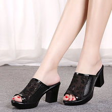 2016 summer platform paillette soft surface thick heel shoes mother women's genuine leather gauze breathable slippers