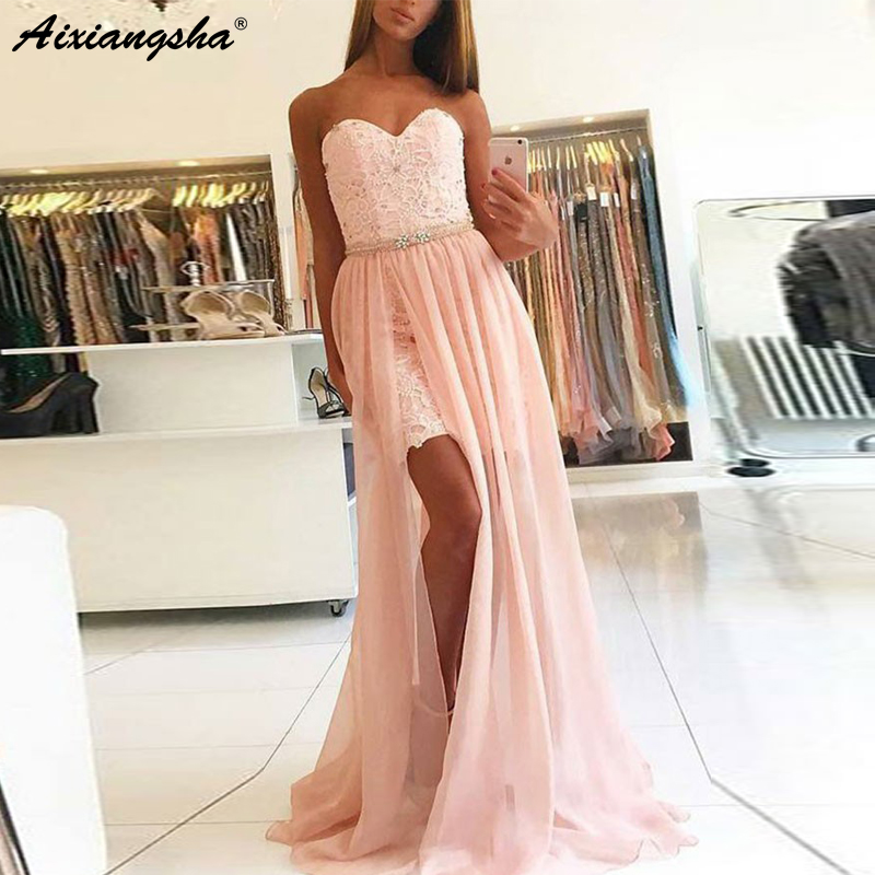 New Design 2019 A-Line Sweetheart Detachable Train Pink Chiffon   Prom     Dress   with Lace Graduation Party   Prom     Dresses   Long