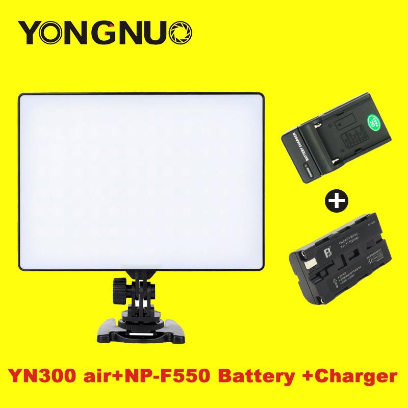 Prix pour Yongnuo yn-300 yn300 air led vidéo panneau lumineux sur caméra 3200 k-5500 k avec np-f550 batterie et chargeur pour canon nikon dslr
