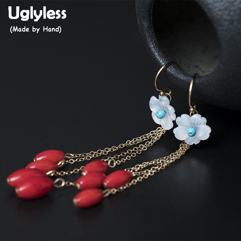 Uglyless Real 925 Sterling Silver Women Nature Shell Flower Earrings Exotic Bohemian Red Beads Earrings Turquoise Brincos Bijoux недорго, оригинальная цена