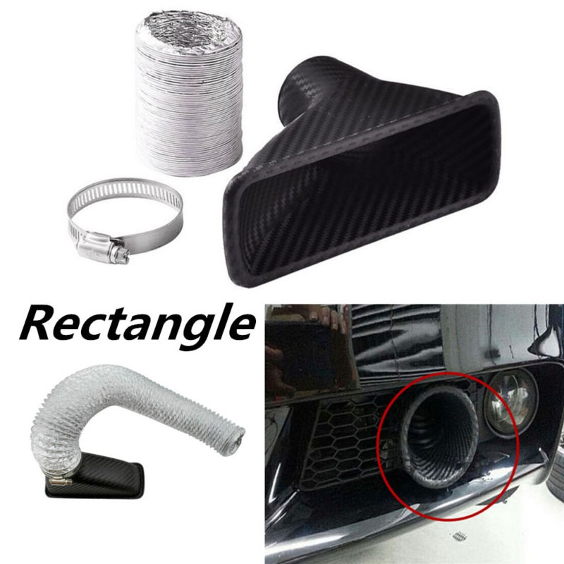 Carbon Fiber Car Bumper Turbo Air Intake Pipe Kit Grille Mount Pipe Funnel Clamp Car Accessories