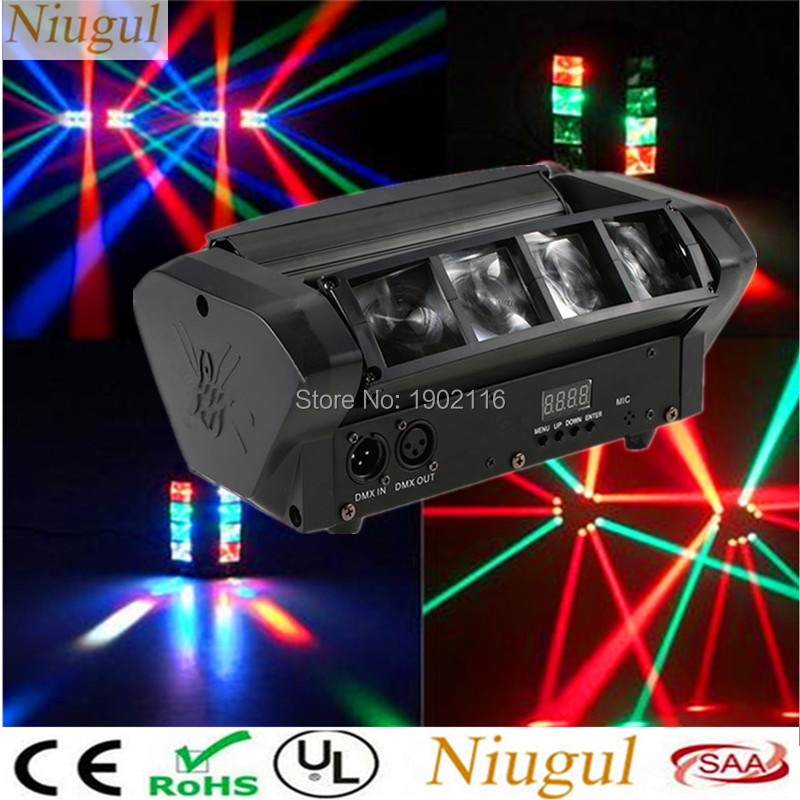 Niugul Mini LED Spider Light RGBW LED Beam Moving Head Light/DMX512 Professional DJ Equipment The Spot Scene Xmas Holiday Lights niugul led moving head light mini led spider light 8x10w led beam dj disco rgbw dmx512 effect lighting christmas holiday lights