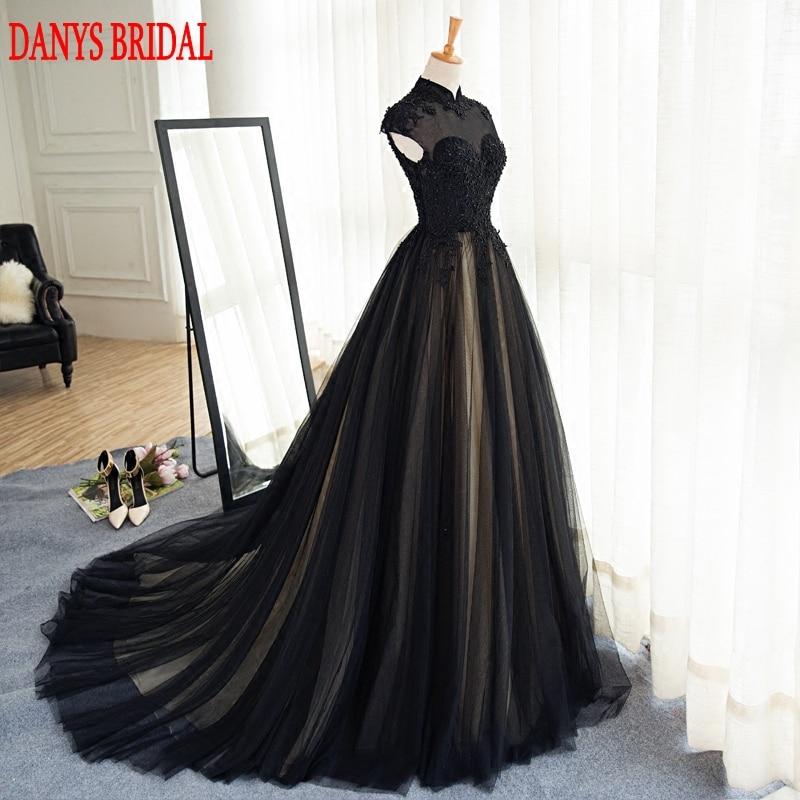 Svart långa Lace Evening Dresses Party Tulle Pärlstav High Neck - Särskilda tillfällen klänningar - Foto 3