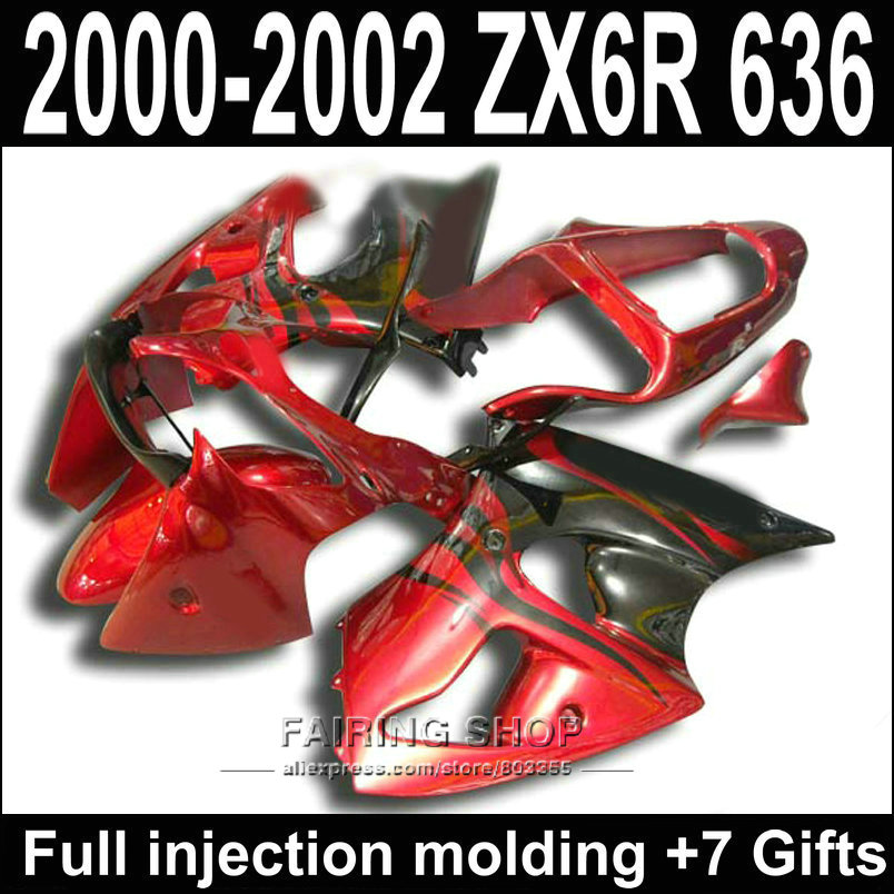 Low price Fairing Kit For Kawasaki ZX -6R 2000 2002 2001 ( 100%fit ) zx6r 00 01 02 Red black Fairings S37