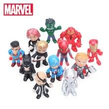 12 sztuk Q wersja Avengers zestaw figurek Marvel zabawki 3.5cm Iron Man Thor Hulk kapitan ameryka Spiderman Ultron lalka Model Toy