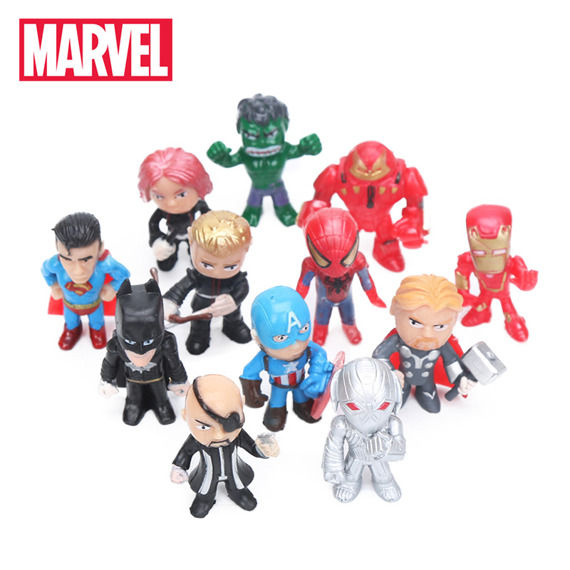 12pcs Q Version The Avengers Figure Set Marvel Toys 3.5cm Iron Man Thor Hulk Captain America Spiderman Ultron Model Doll Toy