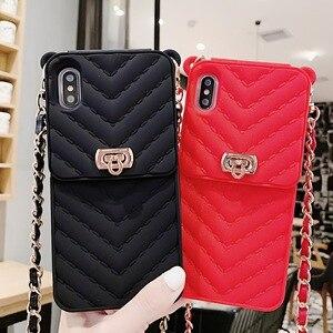 Image 5 - Siliconen Portemonnee Tas Voor Creditcards Telefoon Case Cover Crossbody Keten Voor Iphone 12 11 Pro Max Case Xr Xs max X 6S 8 7 Plus Case