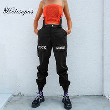 Helisopus Elastic High Waist Black Women Pants Autumn Hip Hop Patchwork Chain Pants Streetwear Embroidery Letter Casual Trousers(China)
