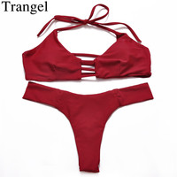 Bikini 2016 Brazilian Style Solid Color Low Waist Sexy Swimming Maillot Cut Out Halter