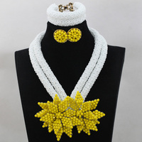 Hot White African Costume Crystal Beads Jewellery Sets Big Yellow Flowers Pedant Earrings Jewelry Set Free Ship QW247