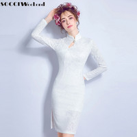 SOCCI Weekend Little White Dress 2017 Lace Cocktail Dresses Elegant Women High Neck Long Sleeves Formal