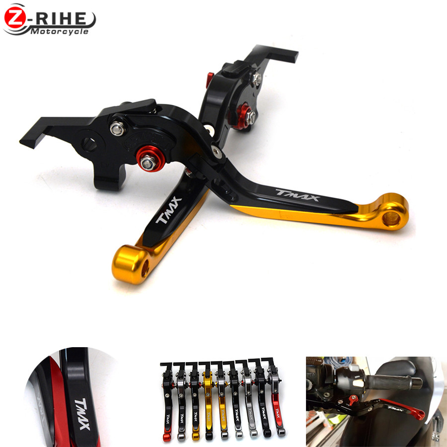tmax530 New With LOGO TMAX Motorcycle CNC Foldable Extendable Brake Clutch Levers Set For Yamaha T-max Tmax 500 530 High Quality for yamaha tmax tmax530 t max t max530 530 xp530 red blue new style blue logo motorcycle adjustable short brake clutch levers