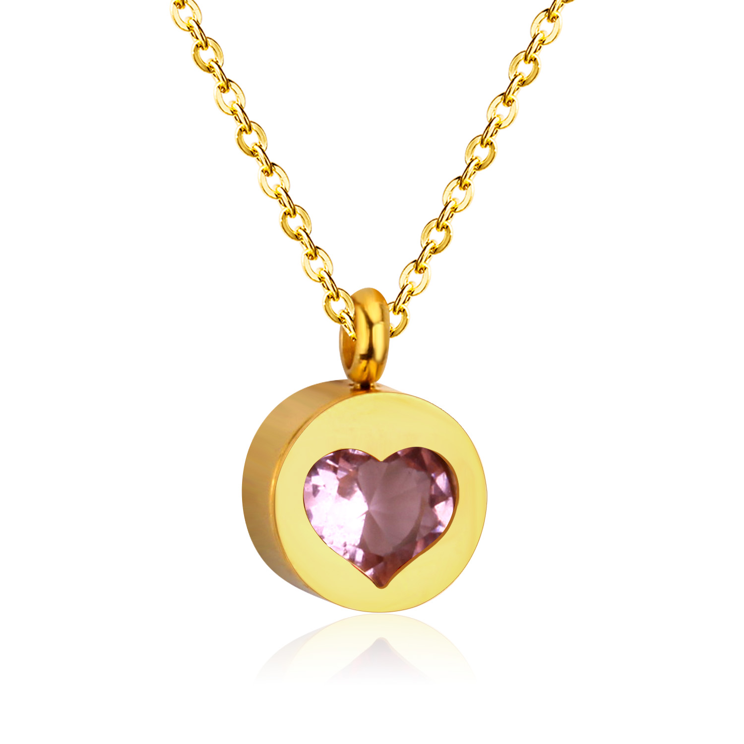 LUXUKISSKIDS Exquisite CZ Jewelry Round Heart Pendants Necklaces Stainless Steel Chain Choker Necklace For Women Collares Colar
