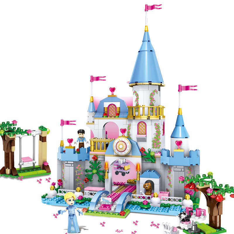 StZhou Cinderella Princess Romantic Castle Model Building Kits Figure Girl Blocks Bricks Toy Compatible Blocks girls gift lepin 16008 creator cinderella princess castle city 4080pcs model building block kid toy gift compatible 71040