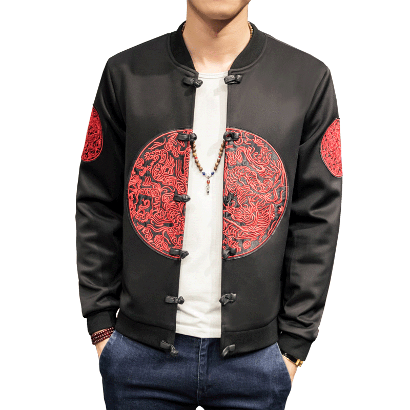 A new Chinese style jacket with loose plus-size dragon embroidery plate buttons for fall 2019/ mens jackets and coats(China)