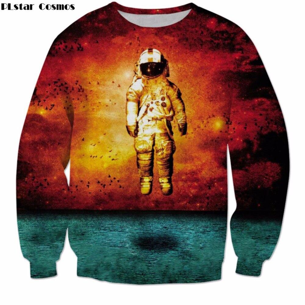 PLstar Cosmos Free shipping 2018 New Harajuku Mens Womens Long Sleeve Sweatshirt Funny Astronaut Print 3d O-Neck Pullovers