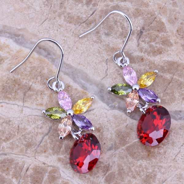 Multicolor Multigem Merah Garnet Perak Berlapis Drop Anting-Anting Menjuntai Bentuk Bintang N0607