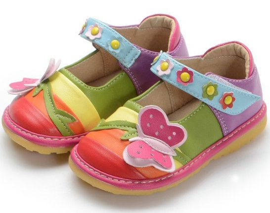 Pretty Baby Toddler Girl Rainbow Butterfly Squeaky Shoes Little Girl Shoes  Free Shipping Soft Pigskin Inner 2e081fa71