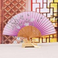 Newest Exoprt Japan Fresh Blue Color Summer Real Silk Fans Pinted Folding Hand Held Fans GYS809