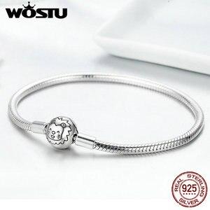 Image 5 - WOSTU Authentieke 100% 925 Sterling Zilver Leuke Kat Glittering CZ Snake Strand Ketting Armbanden Armband voor Vrouwen Zilveren Sieraden